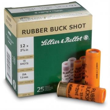 Brokové náboje RUBBER BUCK SHOT 12/70 (7,5mm) Sellier & Bellot
