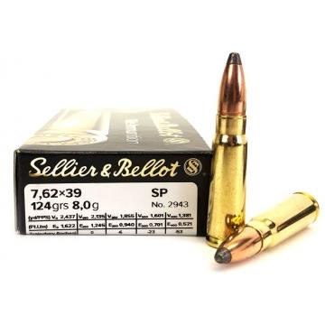 Náboj 7,62 x 39 - SP 8 g (124 grs) Sellier & Bellot (20KS)