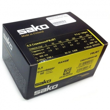 Náboj SAKO 6,5 CREEDMOOR Range Speedhead 9,3g/144gr